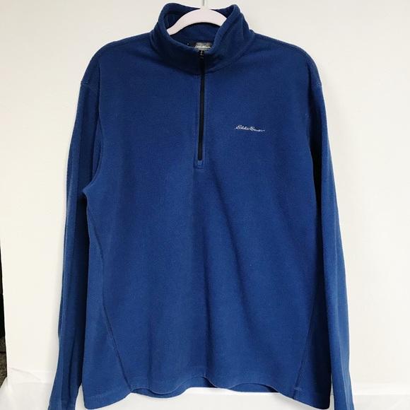 Eddie Bauer 1/4 Zip Polartec Blue Pullover Sz L